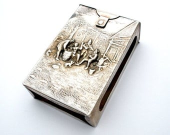 Vintage Cigarette Case Repousse Denmark Silver Plated Collectible Cigarette Case Hand Hammered Case