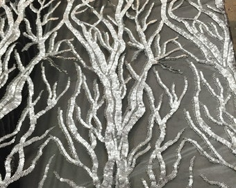 Matte gray fashion tree design embroider wirh sequins on a two way stretch mesh-yard