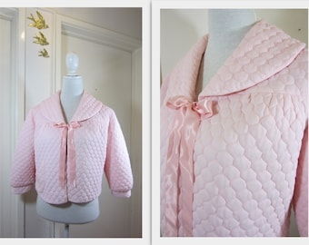 "BABYDOLL 1950's Baby Pink Quilted Bed Jacket by ""Peerless"""