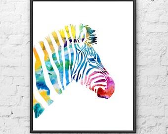 Zebra print nursery zebra art colorful wall art kids decor watercolor print -  H229