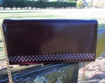 Maroon shoulder bag 1980's