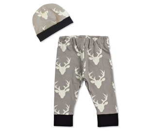 Newborn Boy Coming Home Outfit- Baby Boy Take Home Outfit- Boy Newborn Outfit- Newborn Deer Outfit- Hunting Baby Leggings- Baby Shower Gift