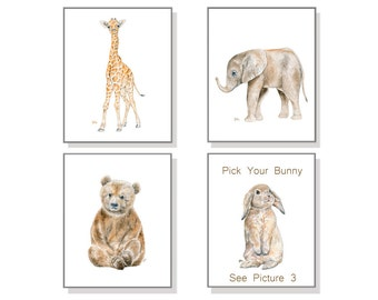 Nursery Wall Art Nursery Decor Nursery Prints Baby Print Set of 4 Baby Animal Prints Watercolor Elephant Giraffe Bear & Pick Your Bunny.