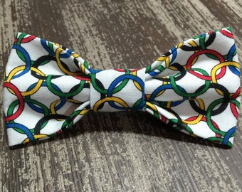 Bow Tie or Flower Collar Attachment & Accessory for Dogs and Cats / Colorful Olympic Rings