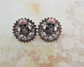 "Steampunk ""Pirate Captain"" Skull Collar Tab / Shoulder Board Pins"