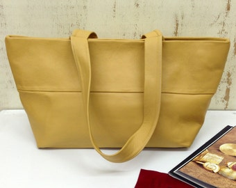 Sale!!! Yellow Leather handbag  Leather bag Leather purse Summer bag Leather handbag  Leather tote bag Handmade bag  by Limor Galili