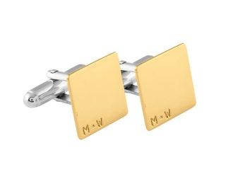 Brass & Sterling Silver Initial Square Cufflinks, Groom/Best man cufflinks, Name cufflinks, Wedding cufflinks, Suit accessories,Personalized