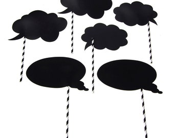 Chalkboard Straw Photo Booth Props, Word Balloon, 8-Inch, 6-Piece