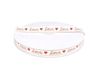 Red Love Print Cotton Twill Ribbon, 3/8-inch, 25-yard