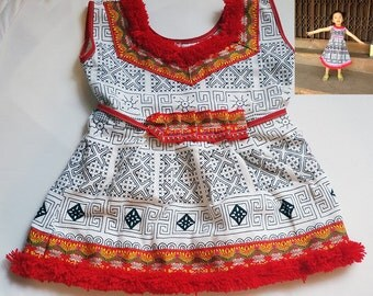 Hmong Hill Tribe Baby Girl's Ruffle Tutus dress Outfit Costume 18 - 24M White Red baby shower gift