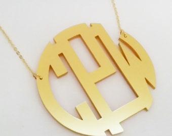 "XXL 3"" Gold Acrylic Monogram Necklace"