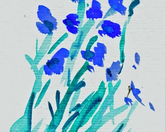 "Watercolor ""Blue flowers"""