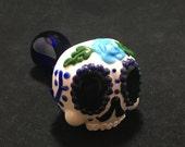 Blue Sugar Skull Glass Pipe