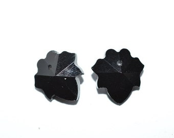 2 PCs - 14 mm Jet Leaf Pendant - Bead (2043099)
