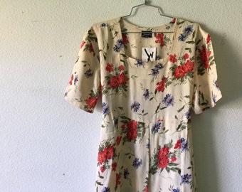 Vintage Dress - Grunge Floral Short Sleeve Long Maxi Tied at the Back