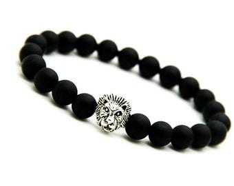 Matte Black Onyx Bracelet, Silver Lion Bracelet Mens, Onyx Lion Bracelet, Stretch Bracelet Men, Mens Mala, Black Gemstone Bracelet Gift Mens