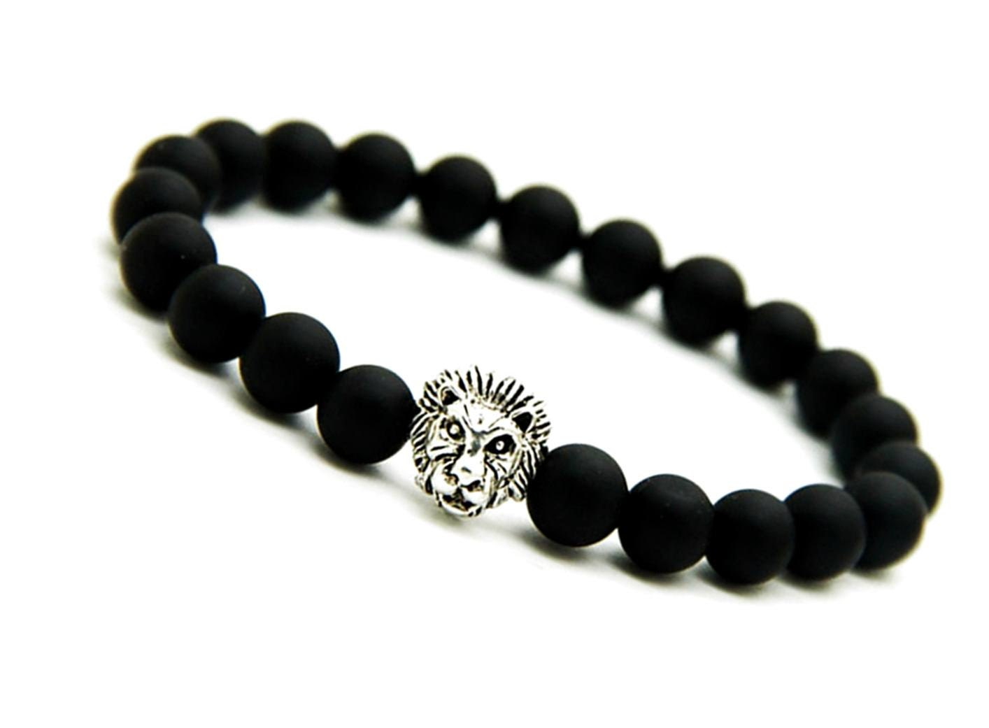 Matte Black Onyx Bracelet, Silver Lion Bracelet Mens, Onyx Lion Bracelet,  Stretch Bracelet