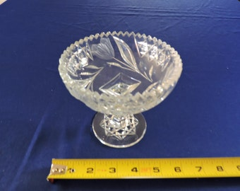Vintage Crystal Cut Glass Compote/Chalice Floral & Leaf Design w/ Starburst Base