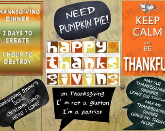 Thanksgiving Photo Booth Props, Thanksgiving Props, Thanksgiving Decor, Thanksgiving Printable, Thanksgiving Photobooth DIY INSTANT DOWNLOAD