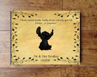 Lilo and Stitch Disney Personalised Wedding Guest Book, Photo Album, Scrapbook