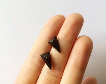 Black Triangle Prism Earrings - Triangle earrings - Minimalist earrings - Post earrings - Stud earrings - Geometric earrings - Pyramid