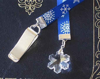 Crystal Snowflake bookmark with clip - Attach clip to book cover then mark the page with the ribbon. Never lose your bookmark!