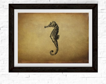 Seahorse Print, Seahorse Wall Decor, Sea Horse, Vintage Decor, Ocean Art, Ocean Decor, Ocean Animals, Vintage Art, Ocean Theme, Nautical