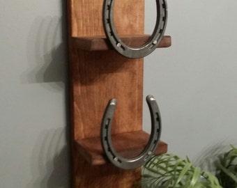 Home Decor,Rustic Towel shelf,  Bath Shelf, horseshoe shelf, Hall Shelf, country western decor, wood shelf, Horseshoe Decor