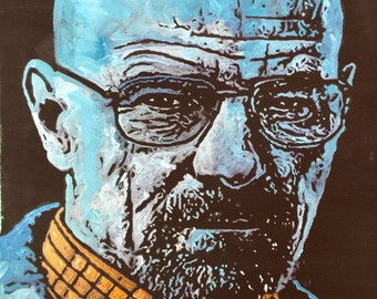 Pop Art Painting of Bryan Cranston as Walter White from Breaking Bad by Matt Pecson Canvas Painting on Canvas Wall Art MADE TO ORDER