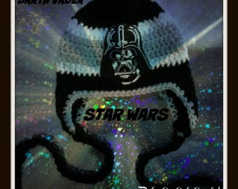 Darth Vader - Star Wars - Photo Prop - Announcement Cards - Inspired Darth Vader Hat with Earflaps and Braids - Baby Kids Adults