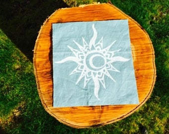 Sun/Moon Hand Printed Patch Blue/White FREE SHIPPING