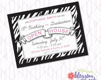 Pink & Zebra Birthday - Postcard Invitation