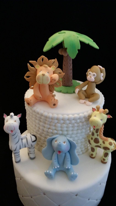Jungle Animal Cake Topper Baby Shower Safari Animal Set For