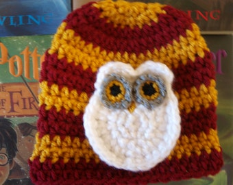 handmade newborn Harry Potter Hedwig hat, baby Harry Potter Hedwig hat, newborn Harry Potter photo props, Harry Potter baby gifts and hats