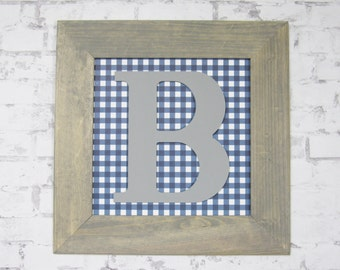 Boy's Nursery Decor - Blue and Gray Nursery Wall Art - Framed Letter for Boy's Room - Gray and Blue Room Art
