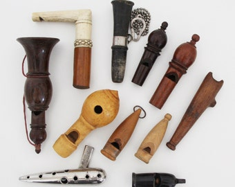 Superb Vintage French Hunting Whistle Collection 12 x Whistle Owl Hooter Ocarina Flute Whistle