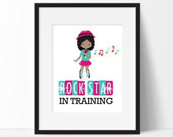 Rock Star Print - Little Rock Star - Girls Room Decor - Rock Star In Training - Girl Rock Star Print - Kids Cute Print - Girls Bedroom