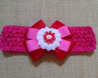 Baby Headband, Red Headband, Pink Headband, Flower Headband, Baby Hair Accessory, Girls Hairbow, Baby Girl Headband, Flower Hairbow