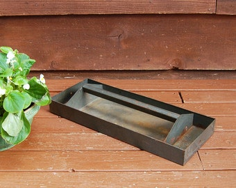 Tool Box Tray, Vintage Metal Garden Caddy, Storage Bin