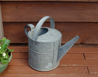 Large Galvanized Watering Can, Vintage Watering Can, Number 12 Watering Can