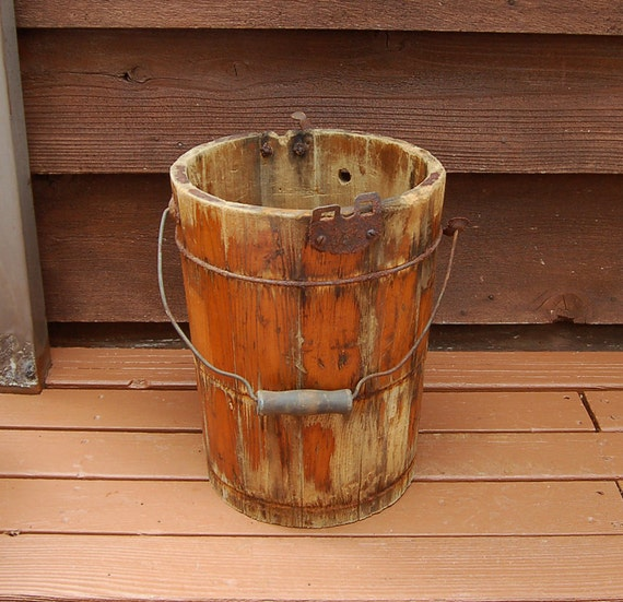 Rustic wooden ice cream bucket vintage churning