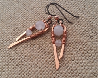 Rose Quartz and Copper Earrings