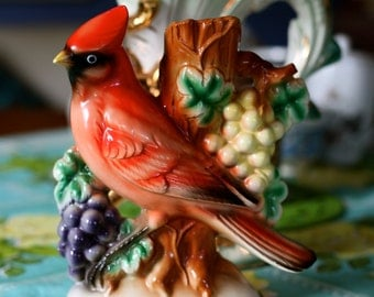 Beautiful Vintage 1960's Red Cardinal Figurine