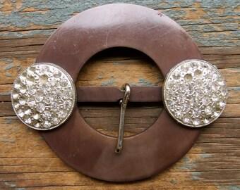 Vintage Brown Buckle with Rhinestones