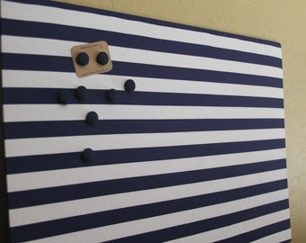 "Magnet Board (18"" x 12"") , Memo board, Navy blue and white stripes, office, organization, Magnetic Bulletin board"