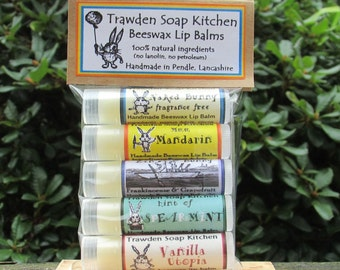 Bunny Lip Balm Set, beeswax & manuka honey, 100% natural, high quality ingredients, UK