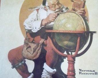 Santa At The Globe - Norman Rockwell - Large Tray- Christmas