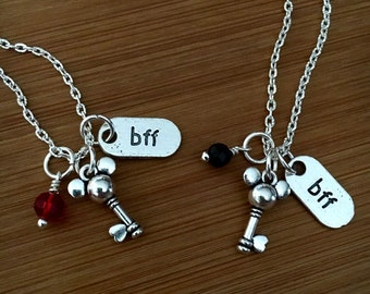 Mickey Mouse Bff necklace-bff jewelry-Mickey-Disney becklace-best friend necklace-BFF- set of 2