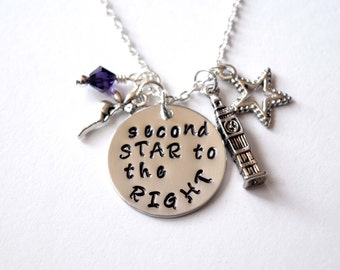 Peter Pan inspired necklace-Second Star to the Right-Tinker Bell-Fairy necklace-Easter Gifts-Easter