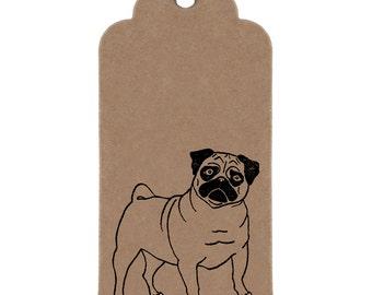 Pug Gift Tags: Handmade Kraft Parcel Tags with Pug Print.